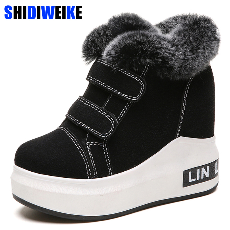 Winter Women Boots rabbit fur suede Leather Wedges Platform Boots Hidden Heel Shoes High Top Sneaker Casual Shoes For Woman n452