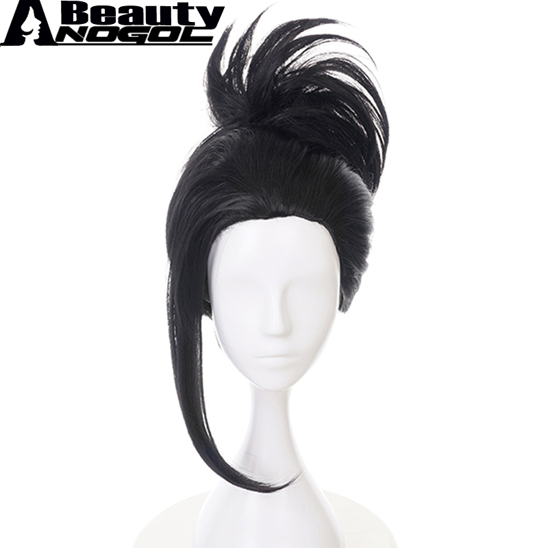 ANOGOL BEAUTY Hair Cap+My Hero Academia Momo Yaoyorozu Short Black Ponytail Synthetic Co ...