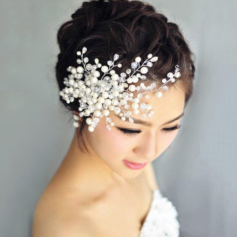 White Wedding Dress Gold Jewelry: Luxury Flower Shape Pearl Hair Dress Rhinestone Head