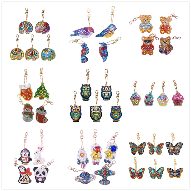 4/5pcs DIY Full Drill Special Diamond Painting Keychain Cartoon Owl Cake Women Bag Pendant Keychains Jewelry Key Ring Gifts(China)