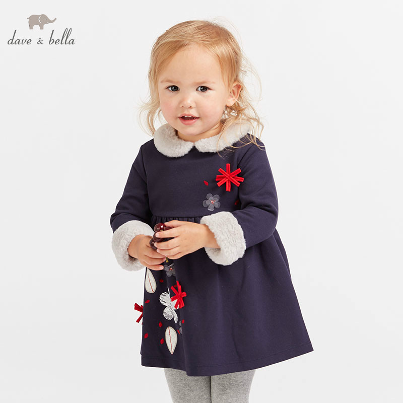 DB8946 dave bella baby navy Dress girls long sleeve autumn dresses kids dress children birthday party boutique dress grappling black diamond hook
