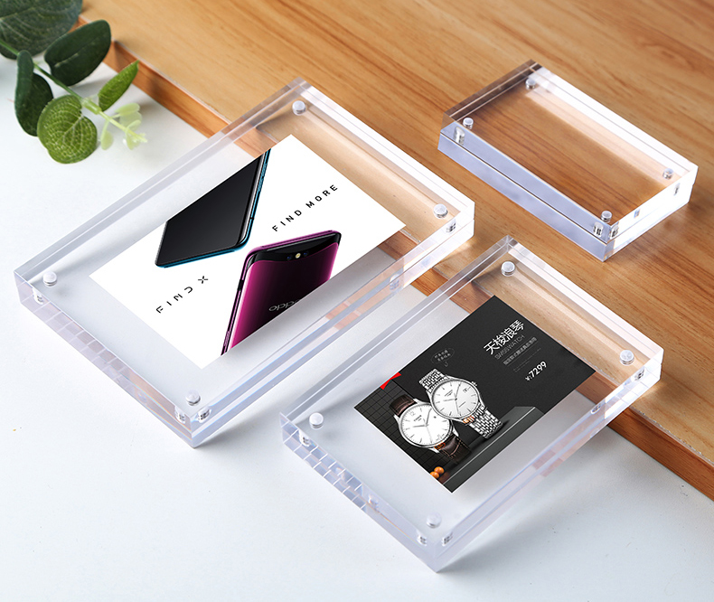 Free Standing Clear Acrylic Perspex Magnetic Photo Frame Advertising Desk Sign Promotion Business Name Card Price