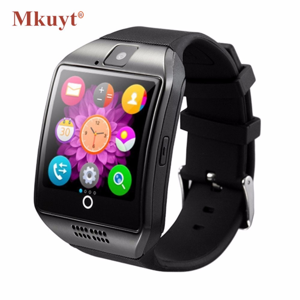 MKUYT Q18 Bluetooth Smart Watch Arc Clock With Sim Card NFC Bluetooth 3.0 Sync Whatsapp Facebook for Smartphone PK DZ09 GT08 A1