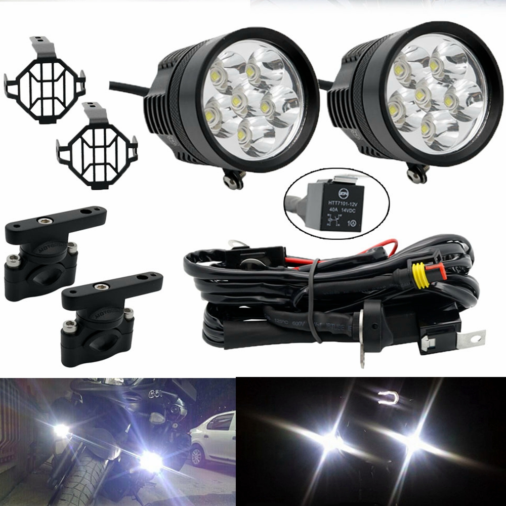 Motorcycles Set 2x LED Auxiliary Fog Light Assembly Driving Passing Lamp For BMW Suzuki Honda Yamaha Auxiliary Fog Lights