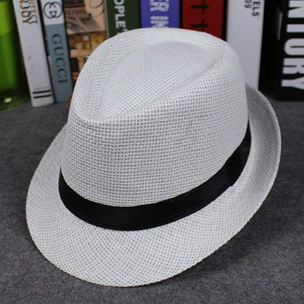New Korean Style Straw Weaving Hat Edge Lovers Cap British Style Papyrus  Jazz Hat Men s Outdoor Beach Hat Children s Headgear 50d53566c06