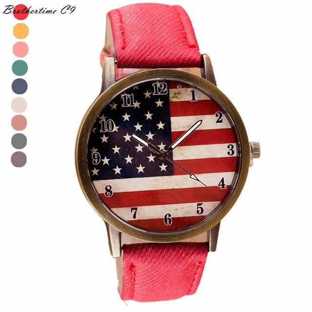 Creative Luxury Watch Women American Flag pattern Leather Band Analog Vogue Wris