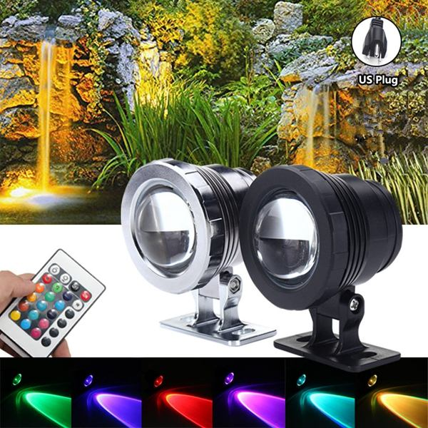 AC85-265V RGB Underwater LED Spot Light Flood Light +Controller 15W Color Changing Lamp IP68 Waterproof For Pond