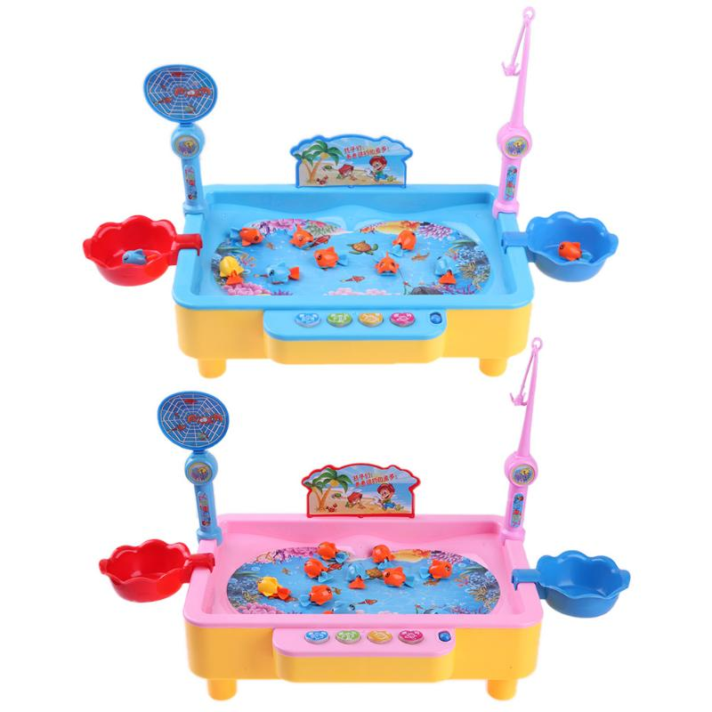 Electric Music Fishing Toys Rotation Magnetic Kids Puzzle Electric Rotating Fishing Game Outdoor Sports Toys