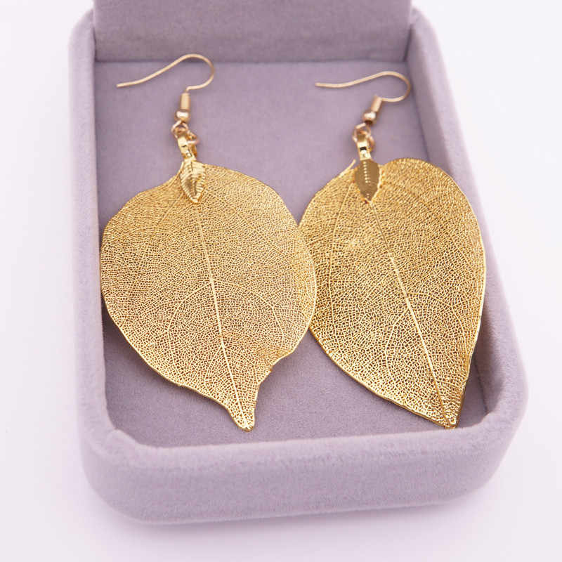 Natural Real Leaf Earrings  New Fashion Gold And Silver Big Statement Earrings For Women Tree Earrings