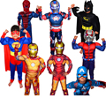 Мальчики Мышцы Super Hero Капитан Америка Костюм Человек-Паук Бэтмен Железный Человек Халк Мстители Костюмы Косплей для Детей Дети Мальчик