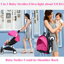 Baby Stroller 3 in 1 Folding Umbrella Baby Car Multifunction Babies Carriages with Baby Car Safe