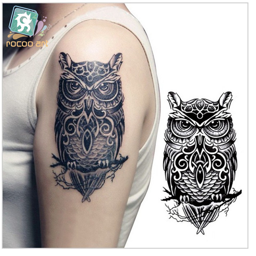 lc 507 temporary tattoos large black owl arm transfer