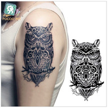 LC-507/Temporary tattoos large black owl arm fake transfer tattoo stickers hot sexy men women spray waterproof designs