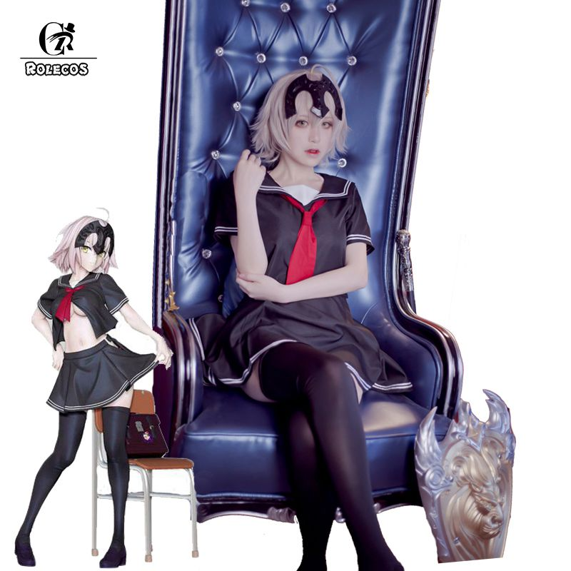 ROLECOS Anime Fate Grand Order Cosplay Kostym öde Apokrypha Jeanne d'Arc Linjal Cosplay Kostymer Japanska School Girl Uniform