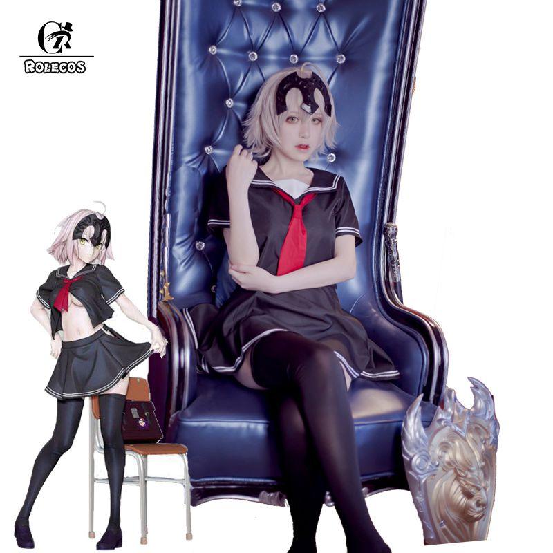 1687ea4dc ROLECOS Anime Fate Grande Ordem Cosplay Fate Apócrifos Jeanne d Arc Régua  Cosplay Trajes Da Menina Da Escola Japonesa Uniforme em de no  AliExpress.com ...