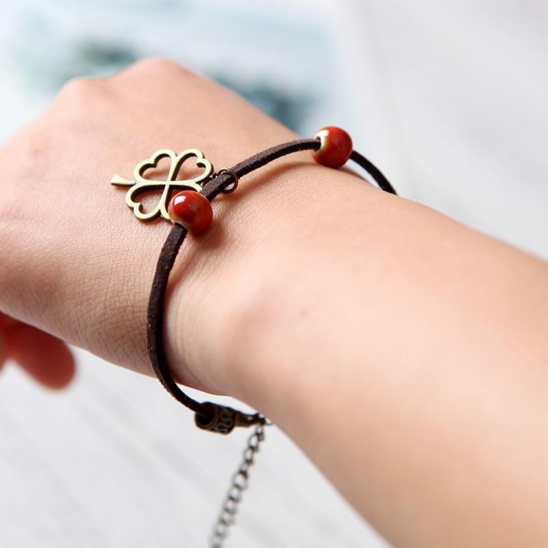 12 Pieces/Lot Ceramic Beaded Bracelets Vintage Four Leaf Clover Pendant Bracelet For Woman Men Jewelry Girls Anklet Gifts