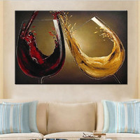 Home Decor Wall Art Pictures Large Knife Beautiful Painting Gift Handpainted Abstract Gold Red Wine Cup Oil Paintings on Canvas