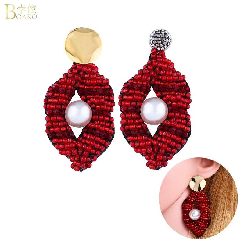 BOAKO Long Drop Earrings For Women Dangle Earring Red Lip Big Drop Earring Party aretes Pearl boucles d 39 oreilles Jewelry Z5 in Drop Earrings from Jewelry amp Accessories
