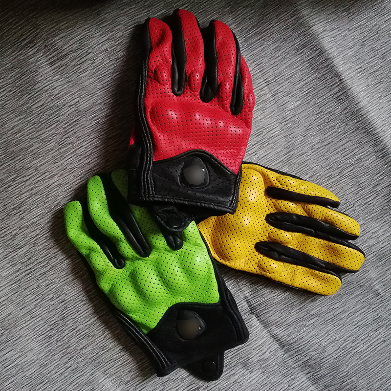 Goat skin harley motorcycle gloves soft wearable full finger motorbike gloves screen touch retro moto racing protective gloves