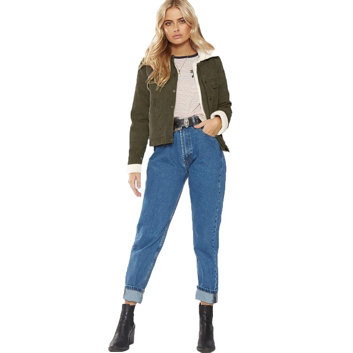 2018 Army Green Corduroy Tie Hair Short Jacket New Style Fashion