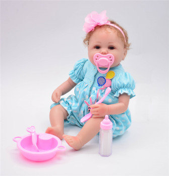 16inch 40cm Reborn baby doll  Silicone vinyl lifelike real touch  reborn infant blue lovely vivid cute Toddler  kids gifts