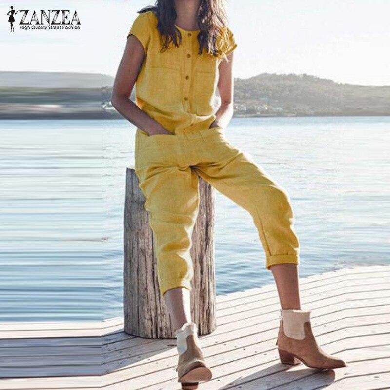 Plus Size Women's Jumpsuits ZANZEA Fashion Cotton Linen Overalls 2020 Summer O Neck Short Sleeve Playsuits Romper Solid Pants