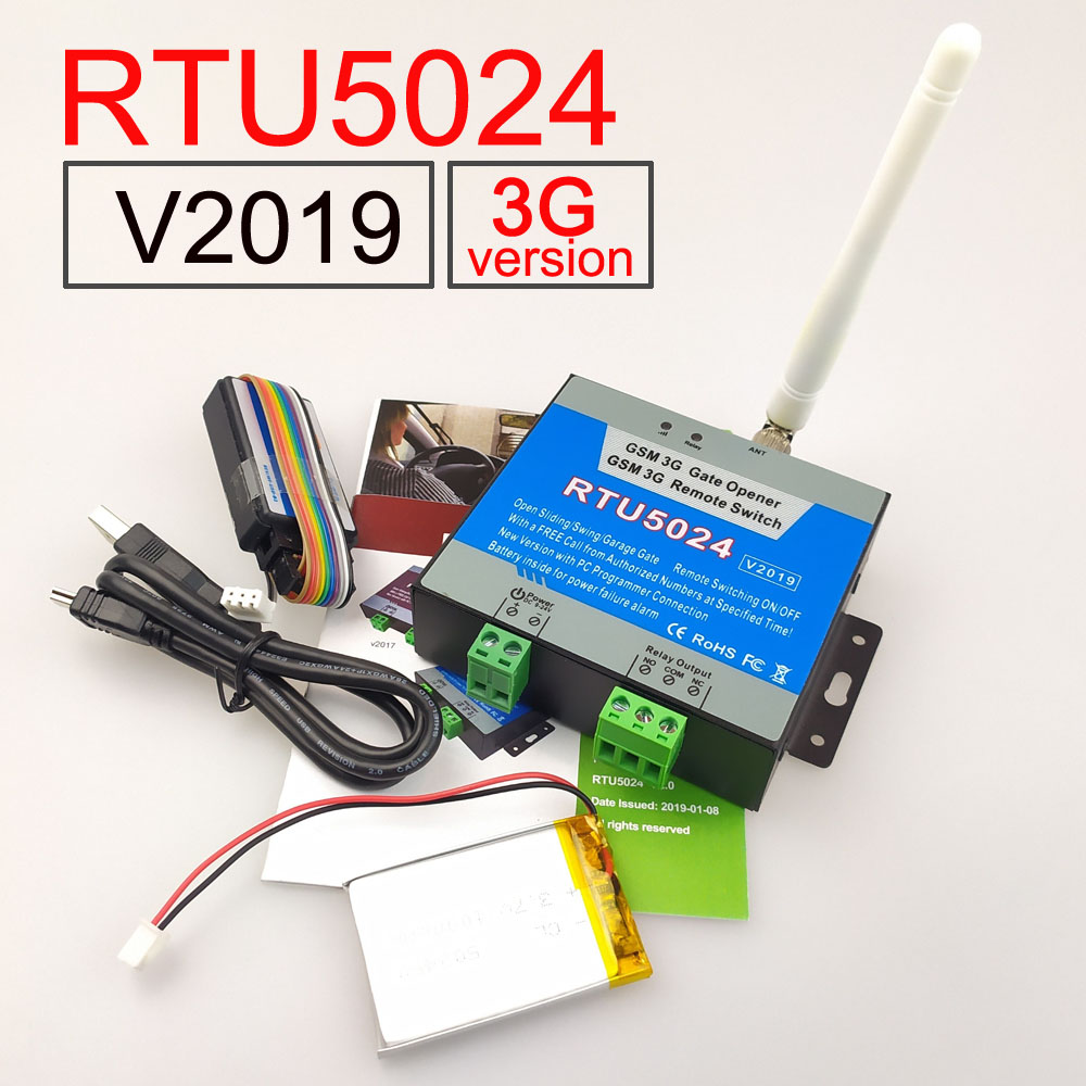 2019 Version RTU5024 3G/GSM Relay Sms Call Remote Controller Gate Opener Switch And Battery For Power Failure Alert