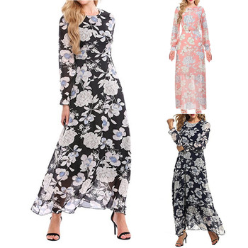 2017 KLV New  Fashion Spring Autumn Women Floral Print Chiffon Dress Long Sleeved Maxi Dresses#20 floral chiffon dress long sleeve