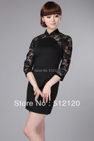 Shanghai Story Slim split 3/4 Sleeve Chinese dress National Trend traditional dress Lace dress Qipao Black Cheongsam