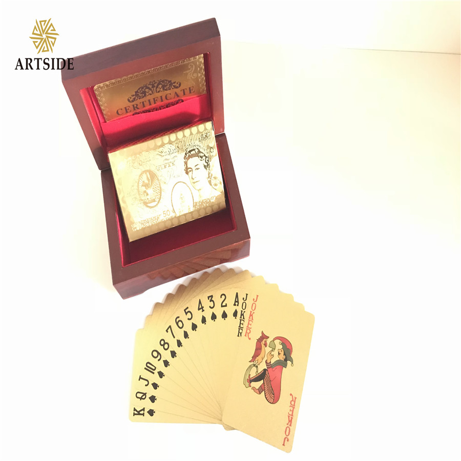 Luxury 24K Gold Foil Poker Playing Cards Deck Carta de Baralho With Box Good Christmas Gift Idea