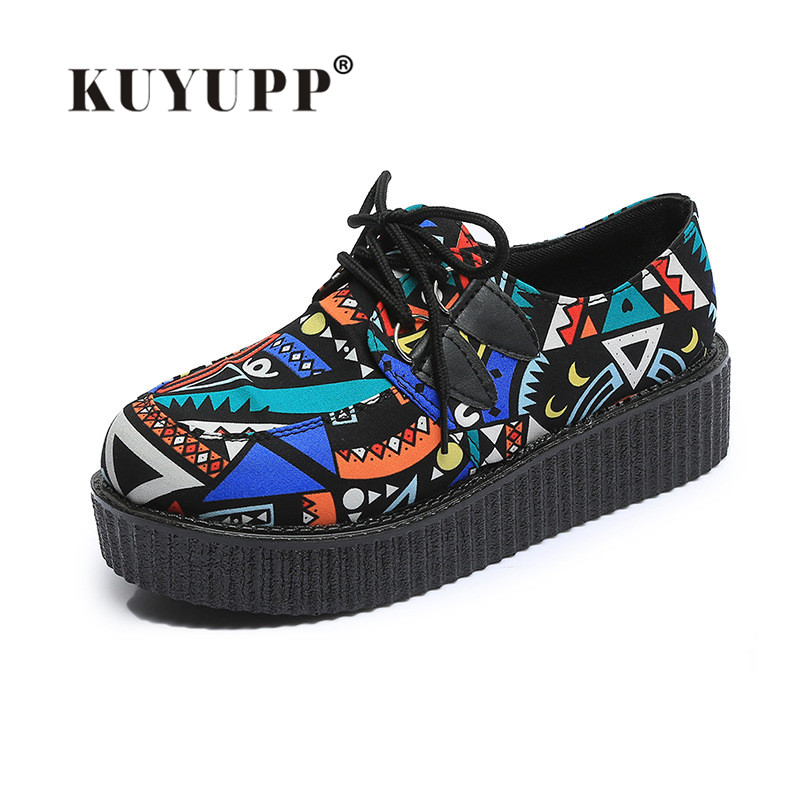 Flat Platform Casual Women Flats Round Toe Thick Sole Flat Shoes Fashion Rubber Ladies Shoes Women's Creepers Size 35-39 PX135 7ipupas hot selling fashion women shoes women casual shoes comfortable damping eva soles flat platform shoe for all season flats