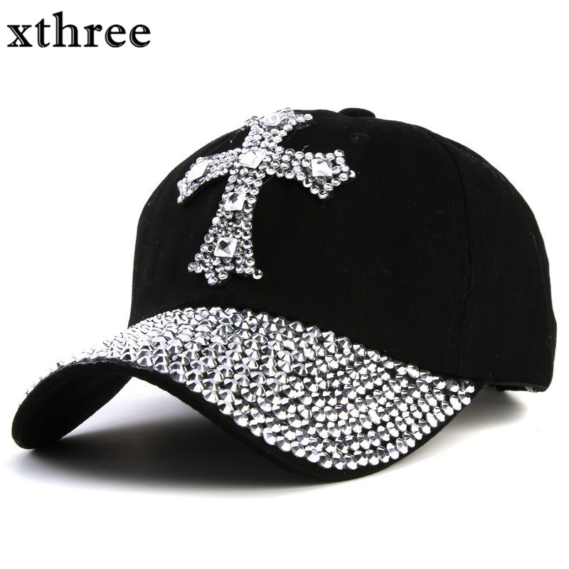 xthree New black Rhinestone baseball cap Fashion Hip hop Cap Men Women s  Baseball Caps Super Quality 64882bd35034