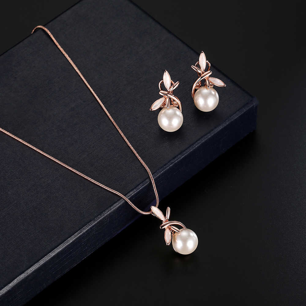 Women Rose Gold Alloy Imitation pearls Jewellry Sets Necklace + Earrings Jewelry Set Charm Pendant Necklace and Chic Earrings