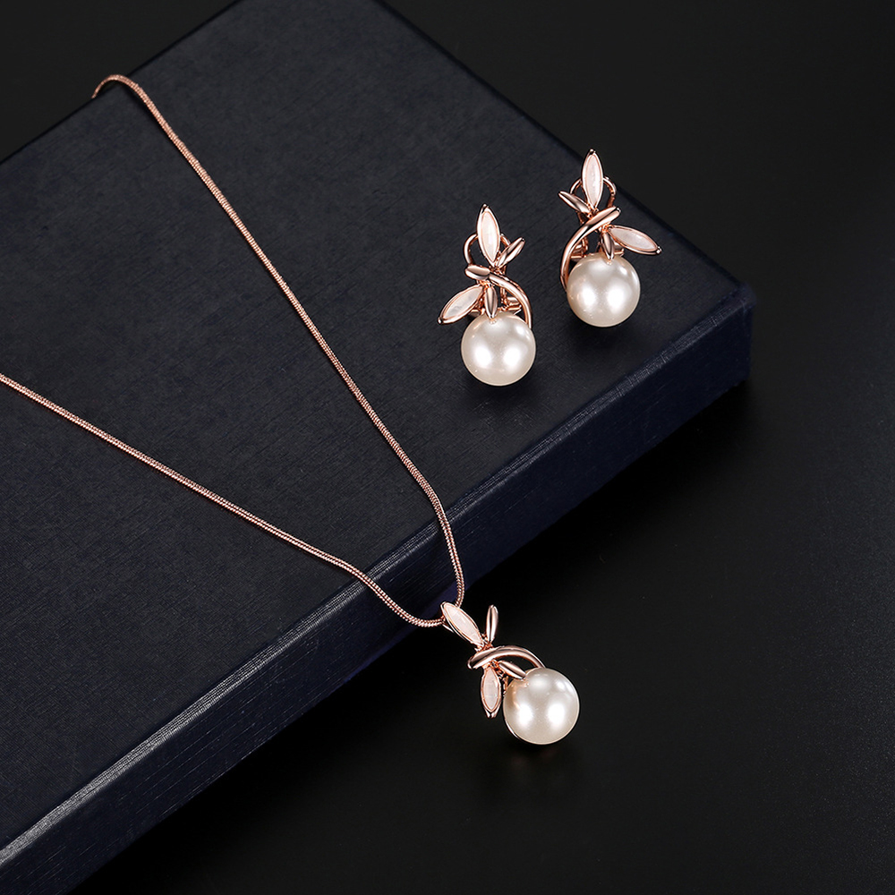 Women Rose Gold Alloy Imitation Pearls Jewellry Sets Necklace + Earrings Jewelry Set Charm Pendant Necklace Chic Earrings