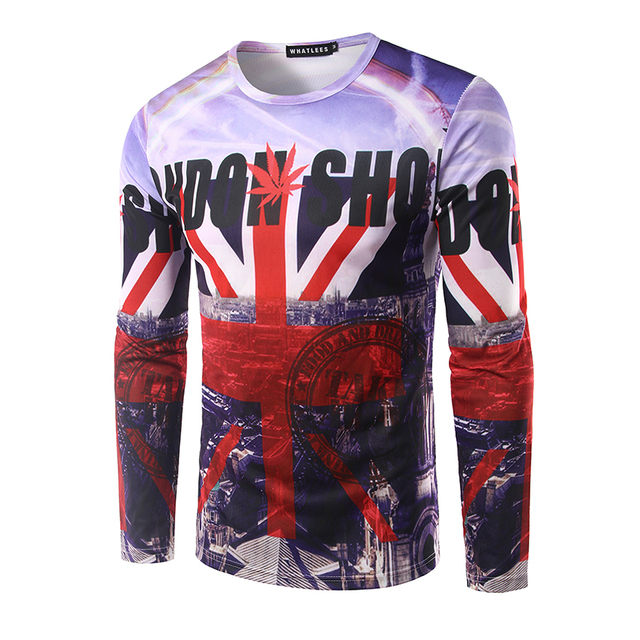 Brand New Men's Long Sleeve T-shirt O Neck Men 3D Printing union jack Flag T Shirt Autumn Wear Clothing T Shirt men