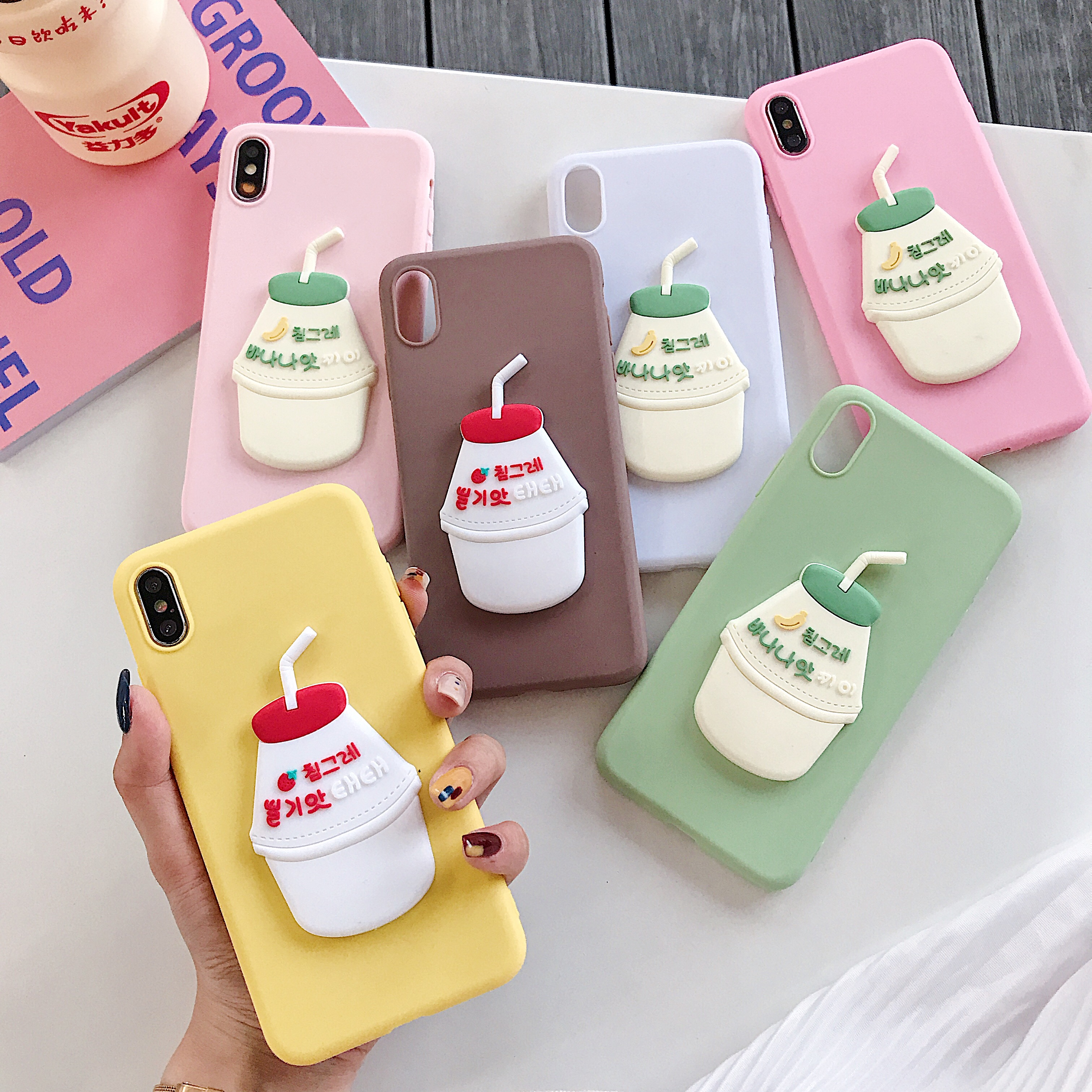Cartoon Banana Milk Strawberry Drink Phone Case For Samsung galaxy S10 plus S10E S9 S8 plus S7 S6 Soft Silicone Back Cover Cases