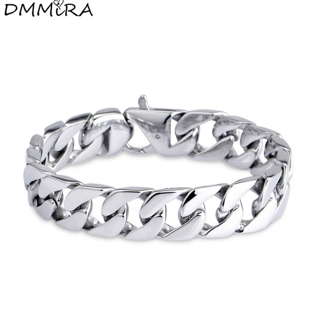 High Quay Fashion Men S Thick Chain Bracelet Stainless Steel Wide Link Silver Cuban Curb
