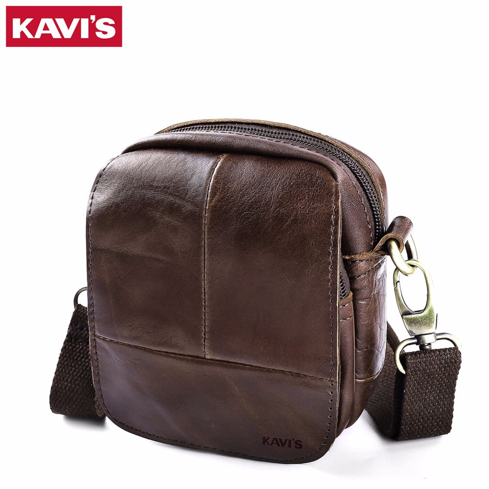 KAVIS 100% Cowhide Genuine Leather Messenger Bag Original Crossbody Handbag Men Shoulder Bolsas Sling Chest Small Mini Male kavis 100
