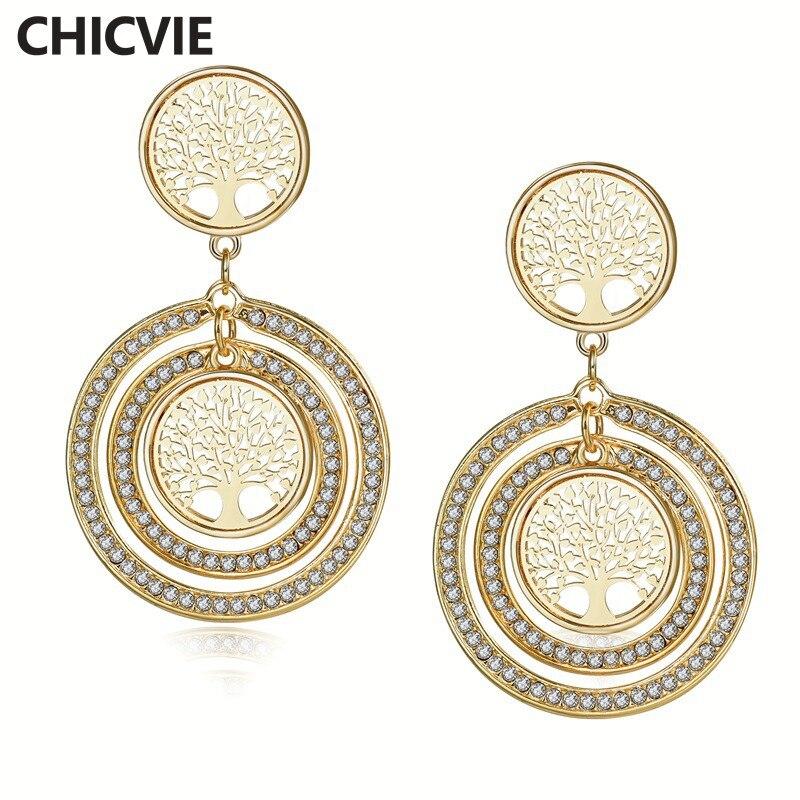 Купить женские серьги подвески с кристаллами chicvie круглые ювелирные