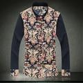 New 2017 Flower Men Shirt Fashion National Style Print Mens Linen Shirts Long Sleeve Slim Fit Camisa Social Dress Shirts Men
