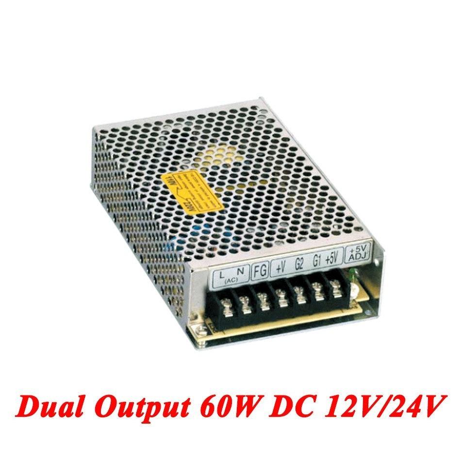 D-60C Switching Power Supply 60W 12V/24V,Double Output AC-DC Power Supply For Led Strip,transformer AC 110v/220v To DC 12v/24v