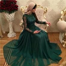 Vestidos De festa 2017 Dubai Dunkelgrün Muslimischen Abendkleid Mit Langen Ärmeln Spitze Appliques Formale Kleid Chiffon Prom Kleider