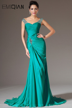 Free Shipping New Cap Sleeves Pleated Chiffon Evening Gowns Evening Dresses