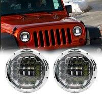 For Lada 4x4 urba Led Headlight 90w 7 Inch LED Headlights High Low Beam Angel Eye DRL Amber Turn Signal for Jeep Wrangler JK