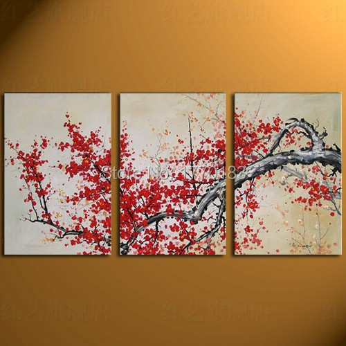 Hand painted flower oil painting on canvas 3 pcs abstract for Cherry blossom canvas painting