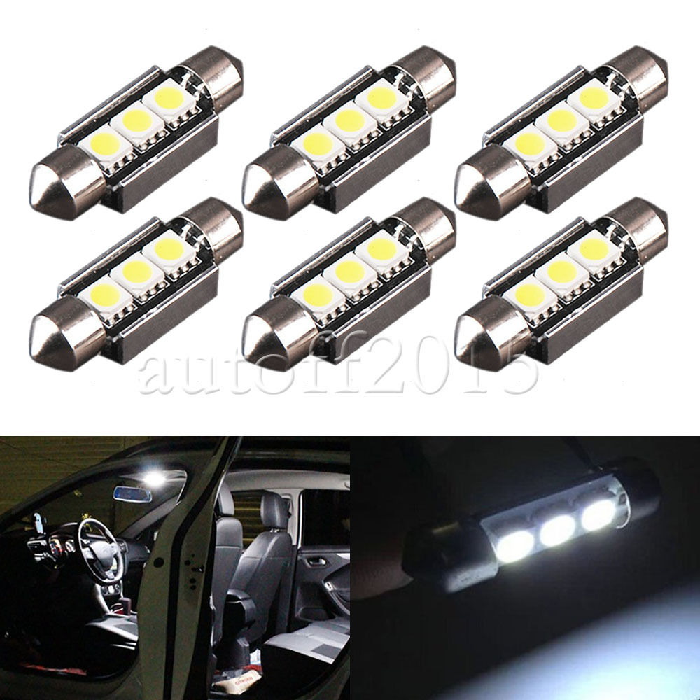 10x36mm Error Free High Power Xenon White 5050 SMD OBC 3 <font><b>LED</b></font> 6411 6418 C5W <font><b>SV8</b></font>,5 INTERIOR, NUMBER PLATE car bulbs