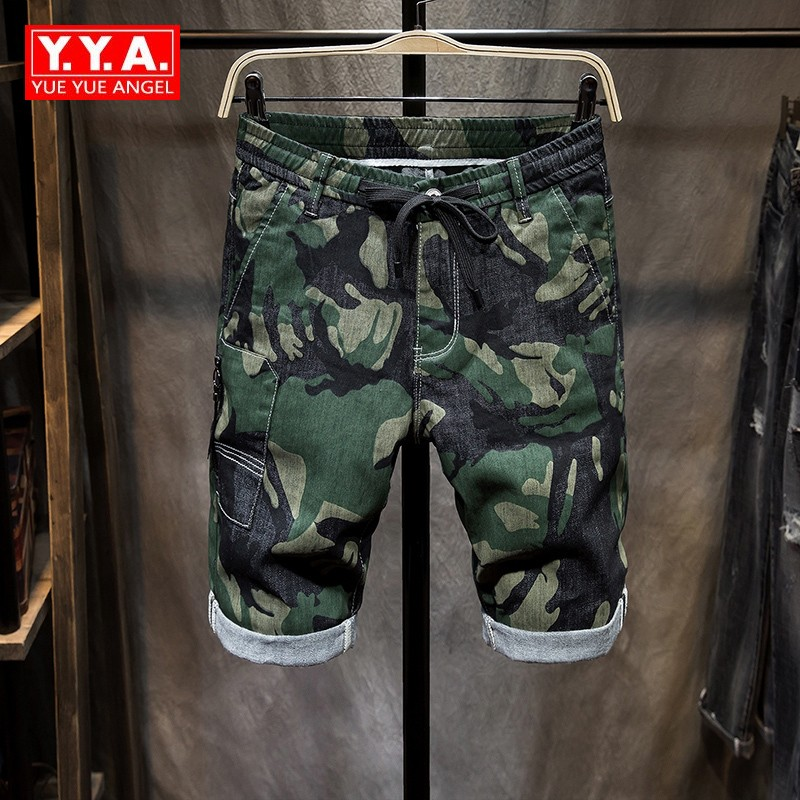 Summer Camouflage Denim Shorts for Men Straight Leg Loose Fit Breeches Stretch Cargo Short Pants Knee Length Zipper Fly Jeans