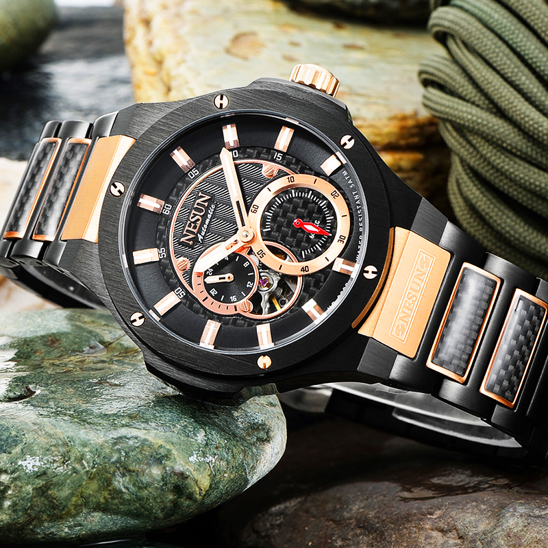 NESUN Men Fashion Automatic Mechanical Wristwatches Luxury Brand Waterproof Sports Watches Male Sapphire Clock Relogio Masculino loreo black genuine leather 200m diving military mechanical luxury men sports watches fashion automatic wristwatches male