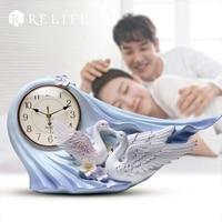 Modern Design Two Swan Meeting Desktop Clock 100% Handpainted Home Clock for Living Room