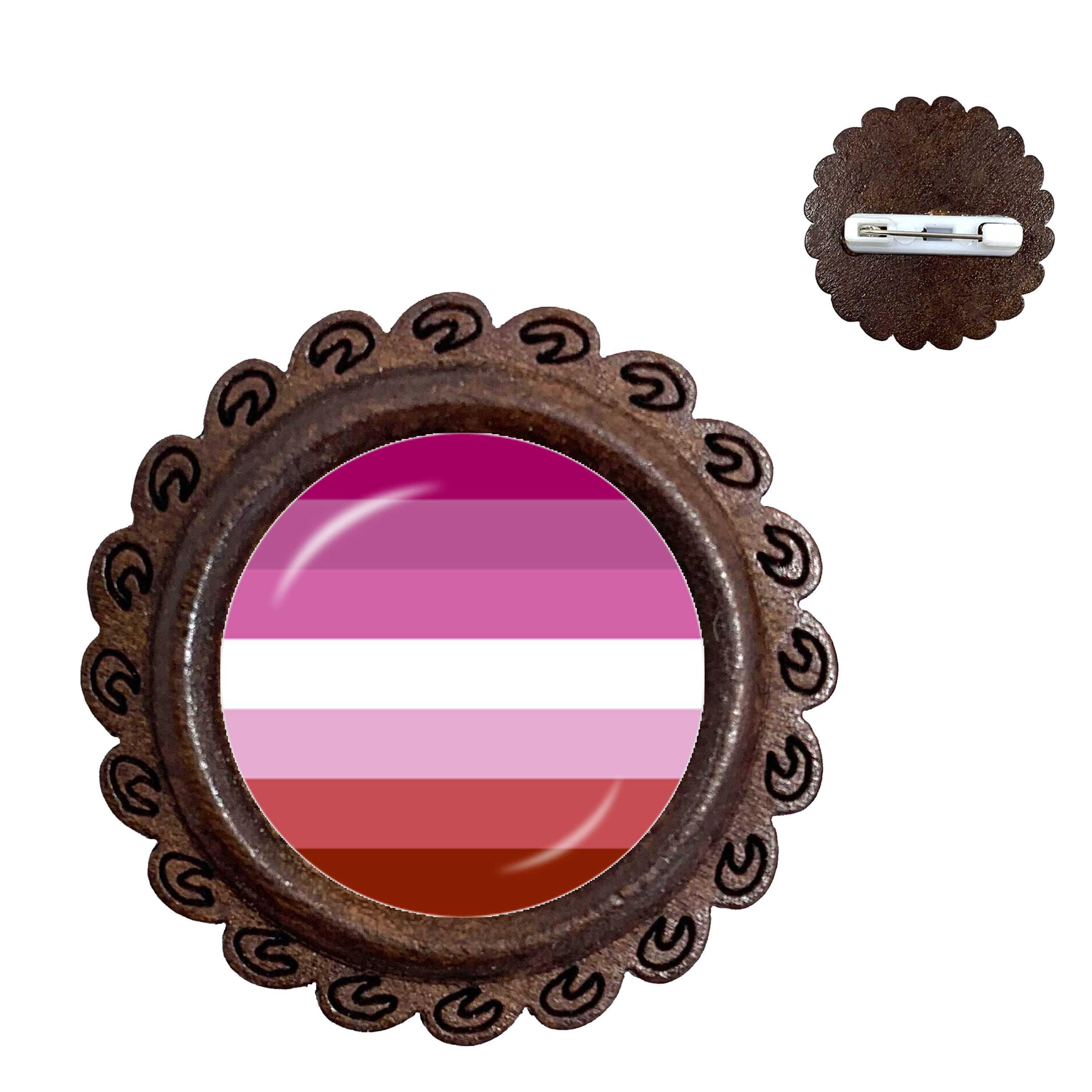 LGBT Rainbow Ronde Hout Broche Voor Vrouwen Mannen Mode Liefhebbers Sieraden Gay Pride Bijoux Accessoires Kraag Pins Gift
